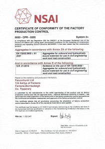 Kelly's Of Fantane SR21 Certification for Aggregates for use under Concrete Floors & Footpaths